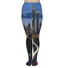Building And Red And Yellow Light Road Time Lapse Women s Tights by Nexatart