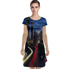 Building And Red And Yellow Light Road Time Lapse Cap Sleeve Nightdress by Nexatart