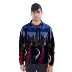 Building And Red And Yellow Light Road Time Lapse Wind Breaker (men) by Nexatart