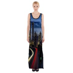 Building And Red And Yellow Light Road Time Lapse Maxi Thigh Split Dress by Nexatart