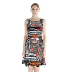 Car Engine Sleeveless Chiffon Waist Tie Dress by Nexatart