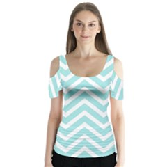 Chevrons Zigzags Pattern Blue Butterfly Sleeve Cutout Tee  by Nexatart