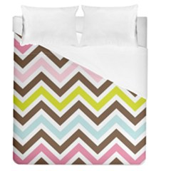 Chevrons Stripes Colors Background Duvet Cover (Queen Size) by Nexatart
