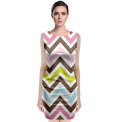 Chevrons Stripes Colors Background Classic Sleeveless Midi Dress