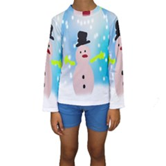 Christmas Snowman Kids  Long Sleeve Swimwear by Nexatart