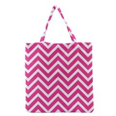 Chevrons Stripes Pink Background Grocery Tote Bag