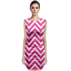 Chevrons Stripes Pink Background Classic Sleeveless Midi Dress