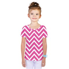 Chevrons Stripes Pink Background Kids  One Piece Tee