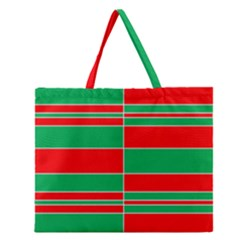 Christmas Colors Red Green Zipper Large Tote Bag by Nexatart
