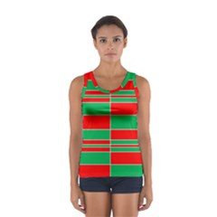 Christmas Colors Red Green Women s Sport Tank Top  by Nexatart