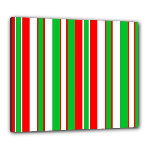 Christmas Holiday Stripes Red Green,white Canvas 24  X 20