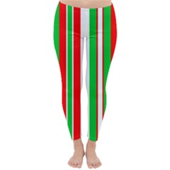Christmas Holiday Stripes Red green,white Classic Winter Leggings by Nexatart