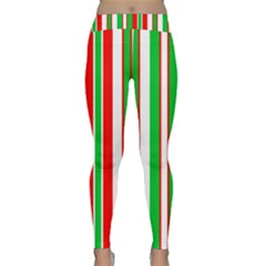 Christmas Holiday Stripes Red Green,white Classic Yoga Leggings by Nexatart