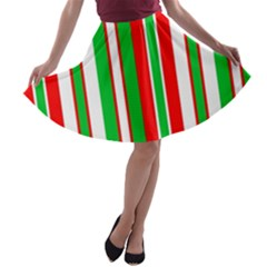 Christmas Holiday Stripes Red Green,white A Line Skater Skirt by Nexatart