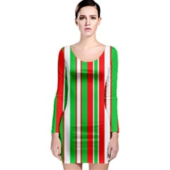Christmas Holiday Stripes Red Green,white Long Sleeve Bodycon Dress