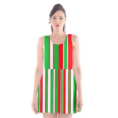 Christmas Holiday Stripes Red Green,white Scoop Neck Skater Dress by Nexatart