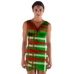 Christmas Colors Red Green White Wrap Front Bodycon Dress by Nexatart