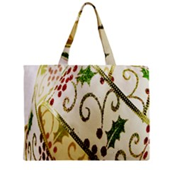 Christmas Ribbon Background Zipper Mini Tote Bag by Nexatart
