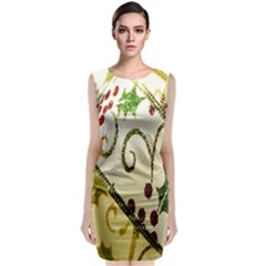 Christmas Ribbon Background Classic Sleeveless Midi Dress