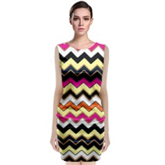 Colorful Chevron Pattern Stripes Classic Sleeveless Midi Dress