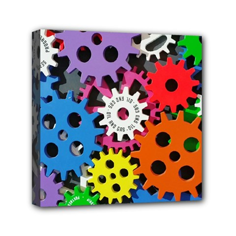 Colorful Toothed Wheels Mini Canvas 6  X 6  by Nexatart