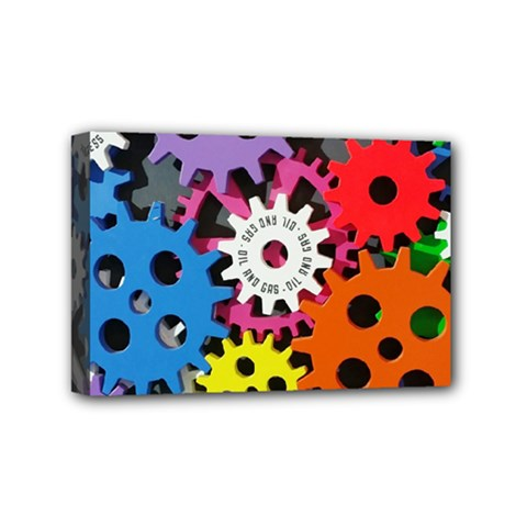 Colorful Toothed Wheels Mini Canvas 6  X 4  by Nexatart