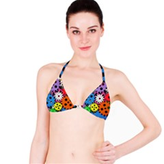 Colorful Toothed Wheels Bikini Top