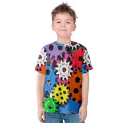 Colorful Toothed Wheels Kids  Cotton Tee by Nexatart