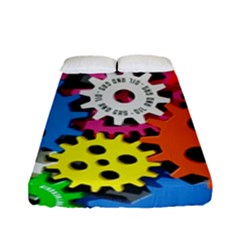 Colorful Toothed Wheels Fitted Sheet (full/ Double Size)