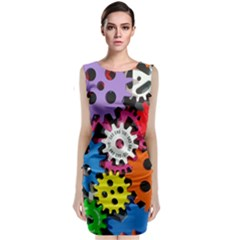 Colorful Toothed Wheels Classic Sleeveless Midi Dress