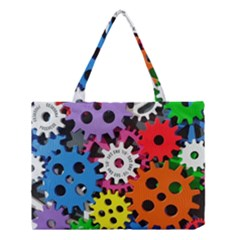 Colorful Toothed Wheels Medium Tote Bag by Nexatart