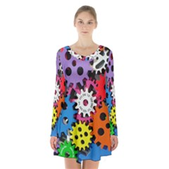 Colorful Toothed Wheels Long Sleeve Velvet V Neck Dress by Nexatart