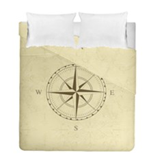 Compass Vintage South West East Duvet Cover Double Side (Full/ Double Size) by Nexatart