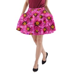 Dahlia Flowers Pink Garden Plant A Line Pocket Skirt by Nexatart