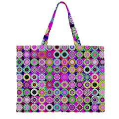 Design Circles Circular Background Zipper Large Tote Bag by Nexatart