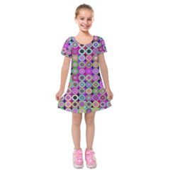 Design Circles Circular Background Kids  Short Sleeve Velvet Dress by Nexatart