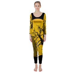 Death Haloween Background Card Long Sleeve Catsuit by Nexatart