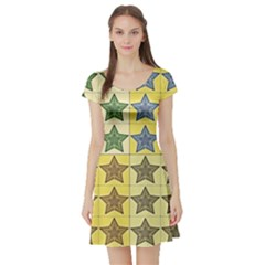 Pattern With A Stars Short Sleeve Skater Dress