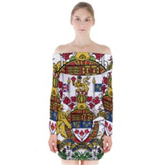Coat Of Arms Of Canada  Long Sleeve Off Shoulder Dress by abbeyz71