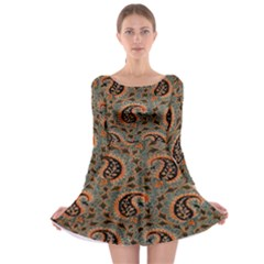 Persian Silk Brocade Long Sleeve Skater Dress by Nexatart