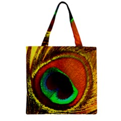 Peacock Feather Eye Zipper Grocery Tote Bag by Nexatart