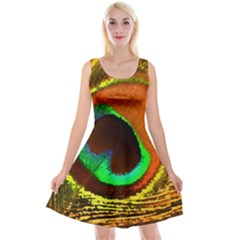 Peacock Feather Eye Reversible Velvet Sleeveless Dress by Nexatart