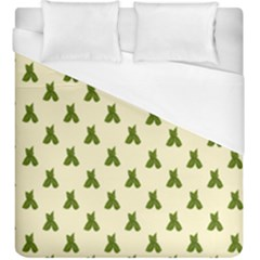Leaf Pattern Green Wallpaper Tea Duvet Cover (king Size) by Nexatart