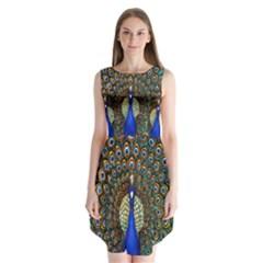 The Peacock Pattern Sleeveless Chiffon Dress   by Nexatart