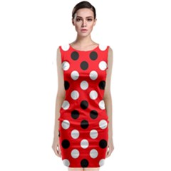 Red & Black Polka Dot Pattern Classic Sleeveless Midi Dress