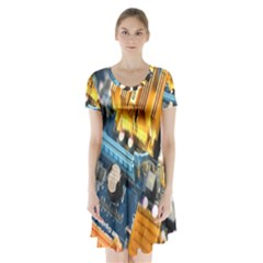 Technology Computer Chips Gigabyte Short Sleeve V Neck Flare Dress by Nexatart