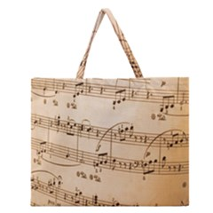 Music Notes Background Zipper Large Tote Bag by Nexatart