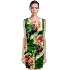 Floral Collage Classic Sleeveless Midi Dress
