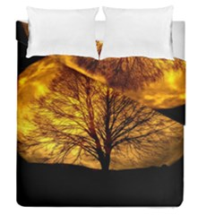 Moon Tree Kahl Silhouette Duvet Cover Double Side (queen Size) by Nexatart