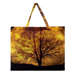 Moon Tree Kahl Silhouette Zipper Large Tote Bag by Nexatart